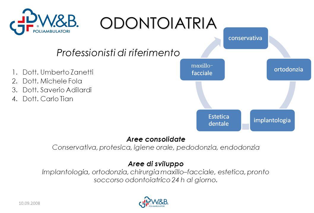 10.09.2008 Professionisti di riferimento 1.Dott.Umberto Zanetti 2.Dott.