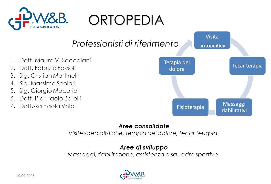 10.09.2008 ORTOPEDIA Aree consolidate Visite specialistiche, terapia del dolore, tecar terapia.