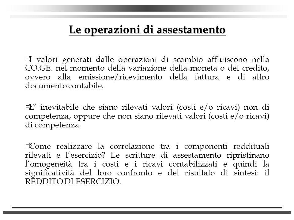 Le operazioni di assestamento I valori generati dalle operazioni di scambio affluiscono nella CO.GE. nel momento della variazione della moneta o del c