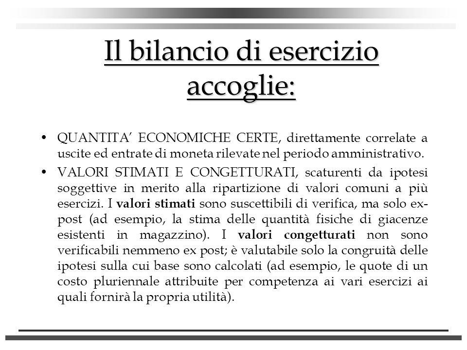 Il bilancio di esercizio accoglie: QUANTITA ECONOMICHE CERTE, direttamente correlate a uscite ed entrate di moneta rilevate nel periodo amministrativo