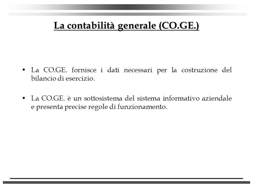 La contabilità generale (CO.GE.) La CO.GE. fornisce i dati necessari per la costruzione del bilancio di esercizio. La CO.GE. è un sottosistema del sis