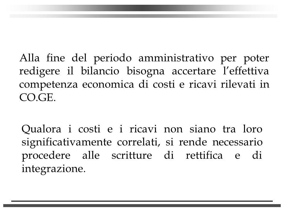 Alla fine del periodo amministrativo per poter redigere il bilancio bisogna accertare leffettiva competenza economica di costi e ricavi rilevati in CO