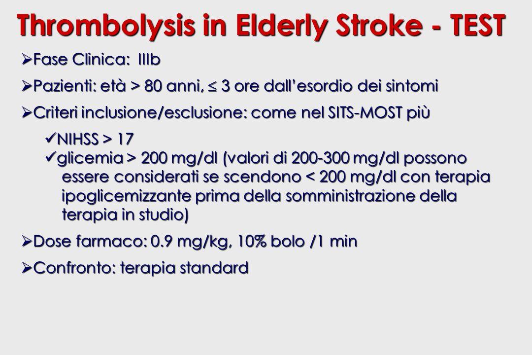 Fase Clinica: IIIb Fase Clinica: IIIb Pazienti: età > 80 anni, 3 ore dallesordio dei sintomi Pazienti: età > 80 anni, 3 ore dallesordio dei sintomi Criteri inclusione/esclusione: come nel SITS-MOST più Criteri inclusione/esclusione: come nel SITS-MOST più NIHSS > 17 NIHSS > 17 glicemia > 200 mg/dl (valori di 200-300 mg/dl possono glicemia > 200 mg/dl (valori di 200-300 mg/dl possono essere considerati se scendono < 200 mg/dl con terapia essere considerati se scendono < 200 mg/dl con terapia ipoglicemizzante prima della somministrazione della ipoglicemizzante prima della somministrazione della terapia in studio) terapia in studio) Dose farmaco: 0.9 mg/kg, 10% bolo /1 min Dose farmaco: 0.9 mg/kg, 10% bolo /1 min Confronto: terapia standard Confronto: terapia standard Thrombolysis in Elderly Stroke - TEST