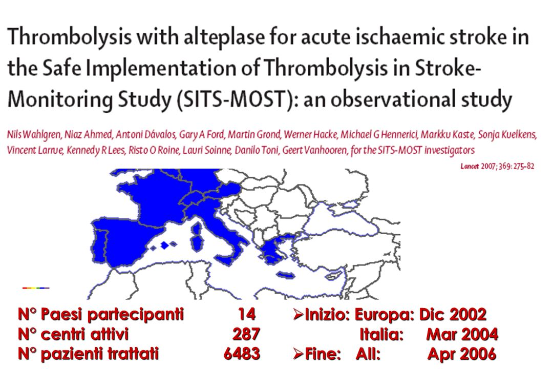ECASS III active centres and N° patients Country N° centresN° patients Italy13117 Germany17108 Spain13 87 France14 86 Austria10 44 Slovakia 4 36 Denmark 3 28 Switzerland 4 20 Belgium 4 17 United Kingdom 7 15 Czech Republic 3 13 Finland 3 13 Norway 3 13 Sweden 4 12 Portugal 2 10 Netherland 2 3 Hungary 2 3 Greece 2 2 Poland 1 1