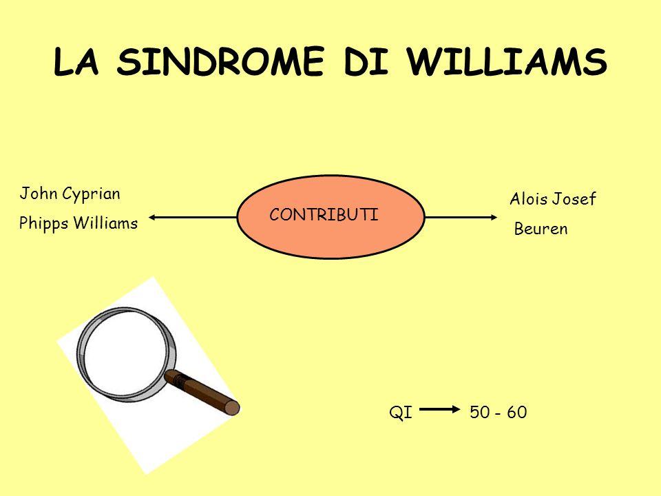 LA SINDROME DI WILLIAMS John Cyprian Phipps Williams Alois Josef Beuren CONTRIBUTI QI50 - 60