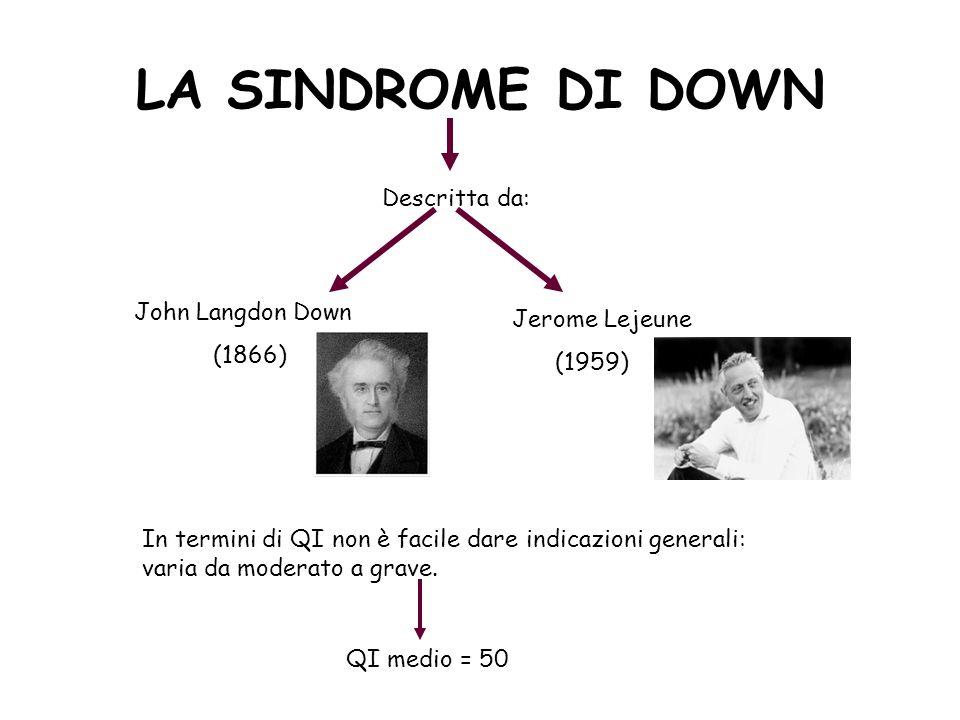 LA SINDROME DI DOWN Descritta da: John Langdon Down (1866) Jerome Lejeune (1959) In termini di QI non è facile dare indicazioni generali: varia da mod