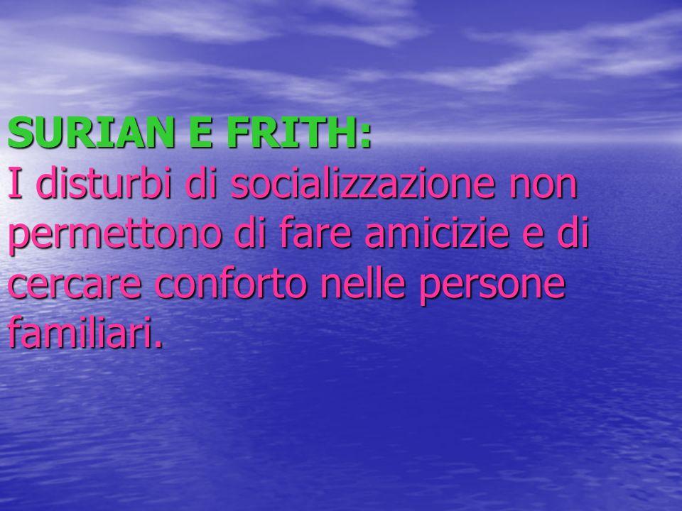 SURIAN E FRITH: I disturbi di socializzazione non permettono di fare amicizie e di cercare conforto nelle persone familiari.