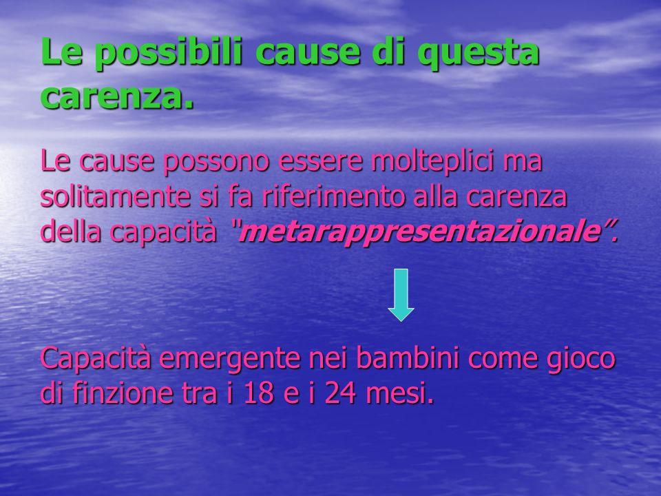 Le possibili cause di questa carenza. Le cause possono essere molteplici ma solitamente si fa riferimento alla carenza della capacità metarappresentaz