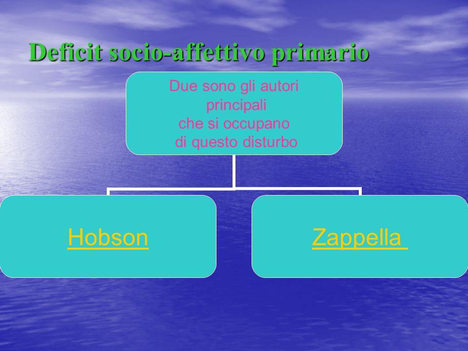Deficit socio-affettivo primario Due sono gli autori principali che si occupano di questo disturbo HobsonZappella