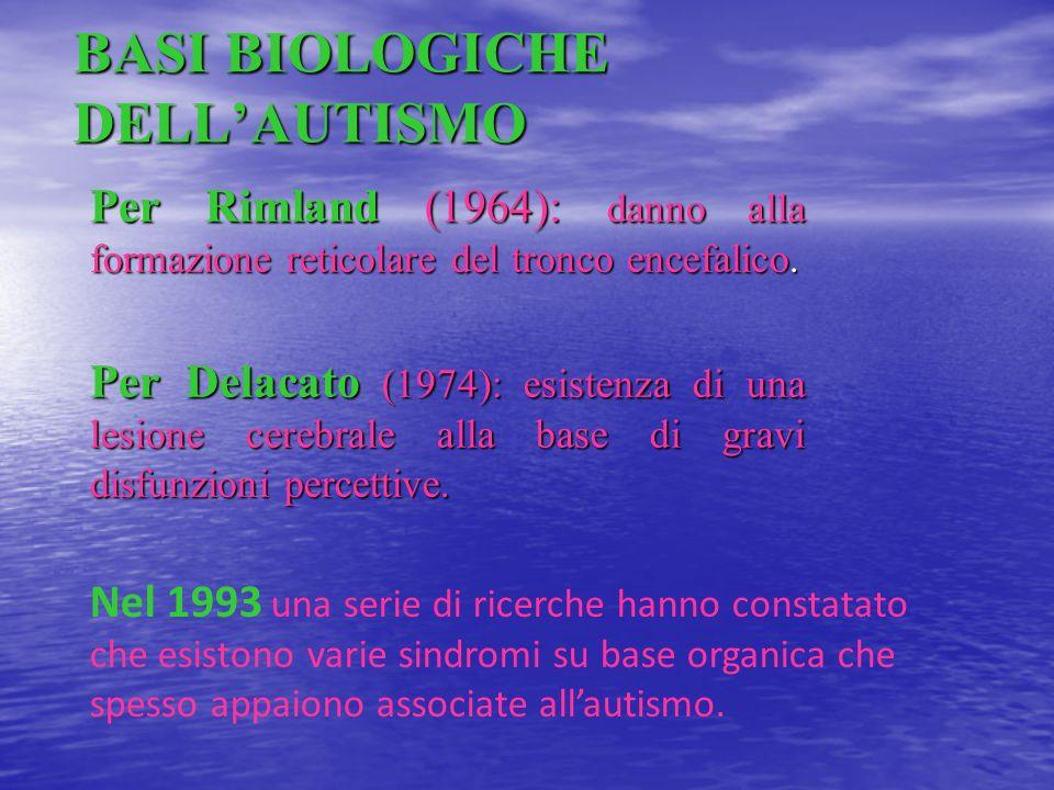 BASI BIOLOGICHE DELLAUTISMO Per Rimland (1964): danno alla formazione reticolare del tronco encefalico. Per Delacato (1974): esistenza di una lesione