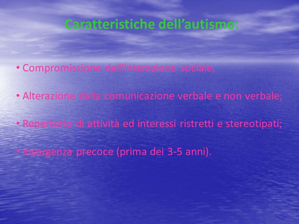 Caratteristiche dellautismo: Compromissione dellinterazione sociale; Alterazione della comunicazione verbale e non verbale; Repertorio di attività ed