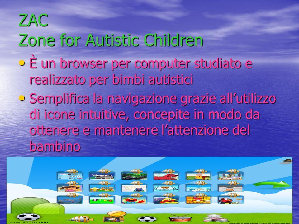 ZAC Zone for Autistic Children È un browser per computer studiato e realizzato per bimbi autistici È un browser per computer studiato e realizzato per