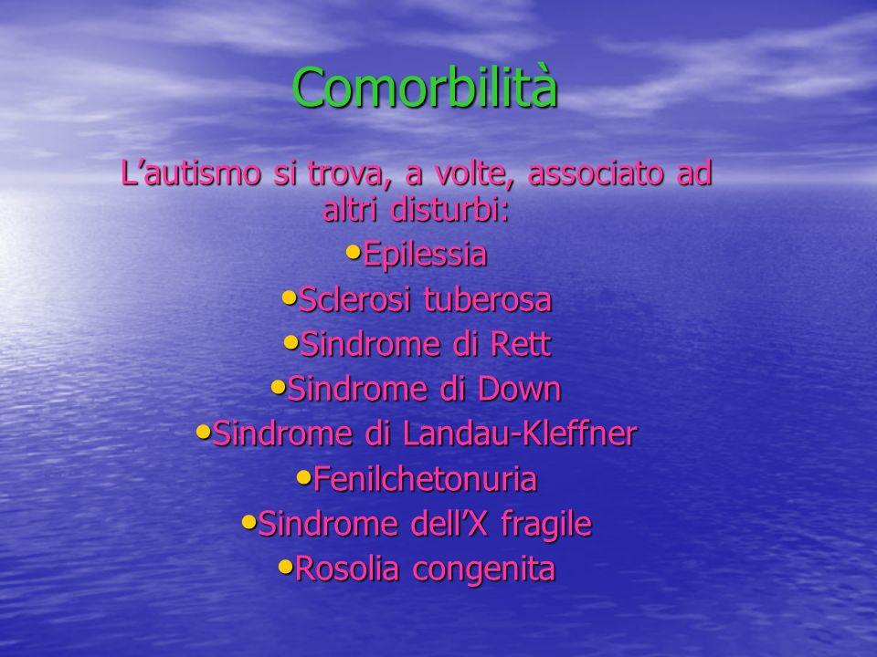 Comorbilità Lautismo si trova, a volte, associato ad altri disturbi: Epilessia Epilessia Sclerosi tuberosa Sclerosi tuberosa Sindrome di Rett Sindrome
