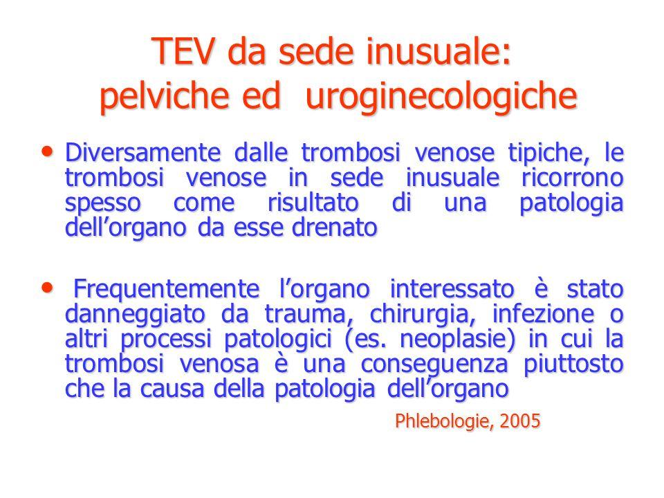 TEV da sede inusuale: pelviche ed uroginecologiche Diversamente dalle trombosi venose tipiche, le trombosi venose in sede inusuale ricorrono spesso co