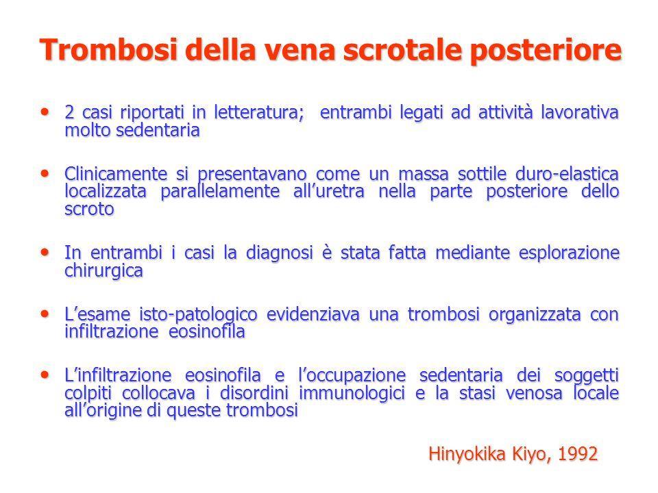 Trombosi della vena scrotale posteriore 2 casi riportati in letteratura; entrambi legati ad attività lavorativa molto sedentaria 2 casi riportati in l