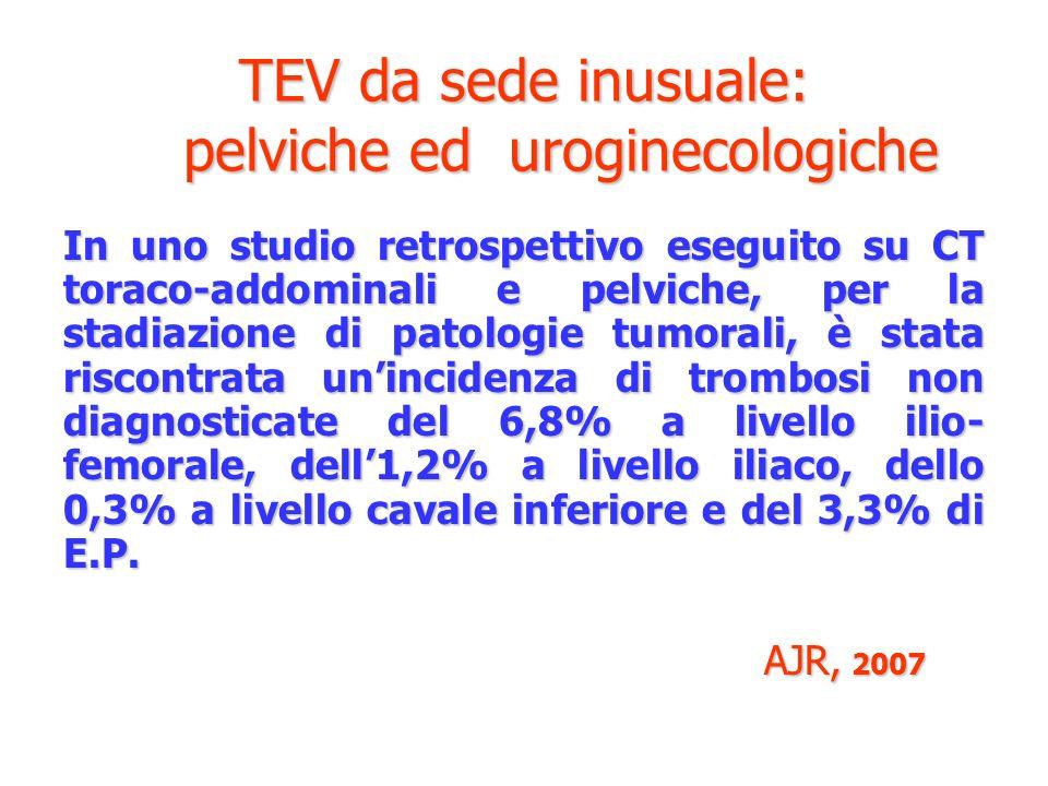 TEV da sede inusuale: pelviche ed uroginecologiche In uno studio retrospettivo eseguito su CT toraco-addominali e pelviche, per la stadiazione di pato