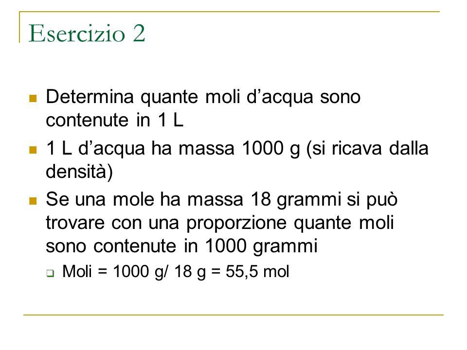 Esercizio 2 Determina quante moli dacqua sono contenute in 1 L 1 L dacqua ha massa 1000 g (si ricava dalla densità) Se una mole ha massa 18 grammi si