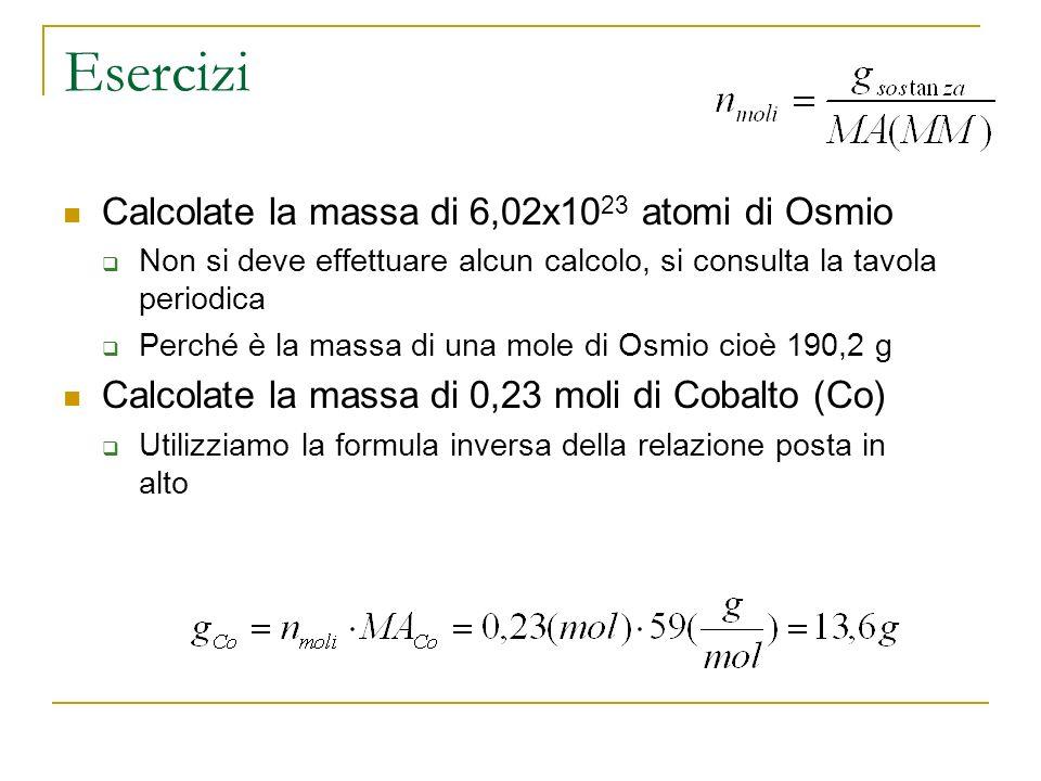 Esercizi Calcolate la massa di 6,02x10 23 atomi di Osmio Non si deve effettuare alcun calcolo, si consulta la tavola periodica Perché è la massa di un