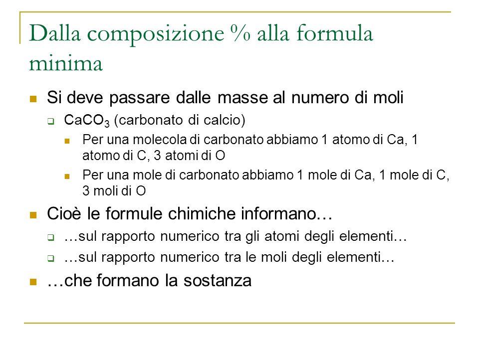 Dalla composizione % alla formula minima Si deve passare dalle masse al numero di moli CaCO 3 (carbonato di calcio) Per una molecola di carbonato abbi
