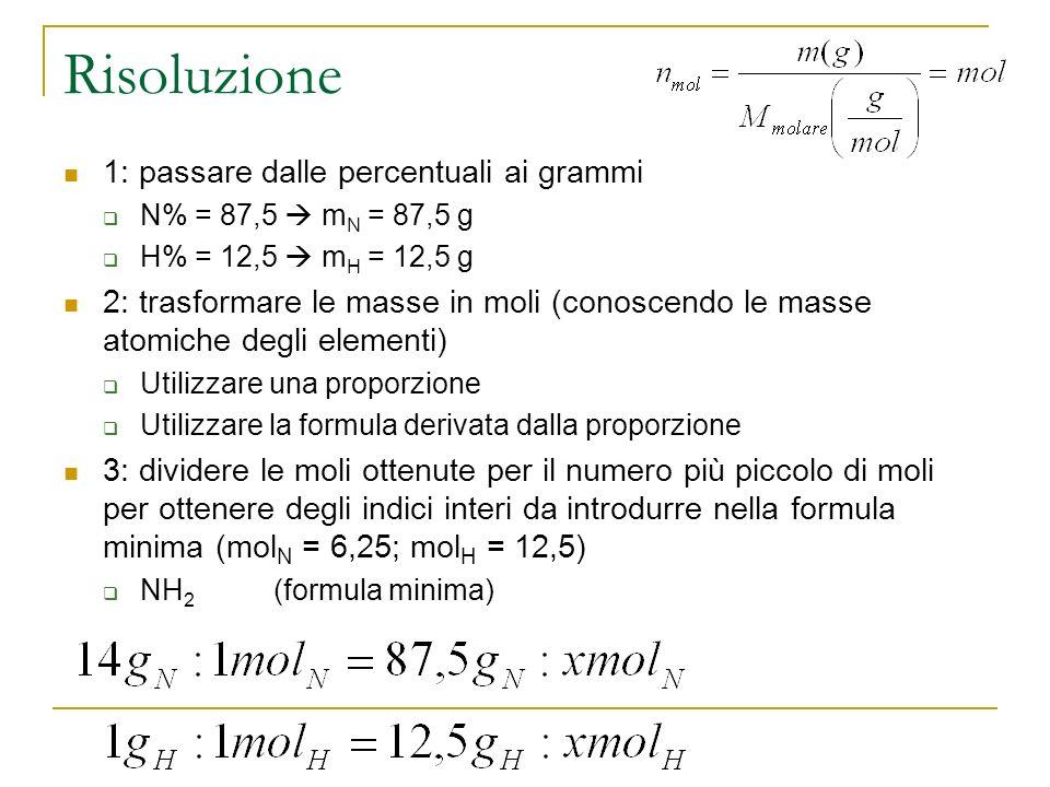 Risoluzione 1: passare dalle percentuali ai grammi N% = 87,5 m N = 87,5 g H% = 12,5 m H = 12,5 g 2: trasformare le masse in moli (conoscendo le masse