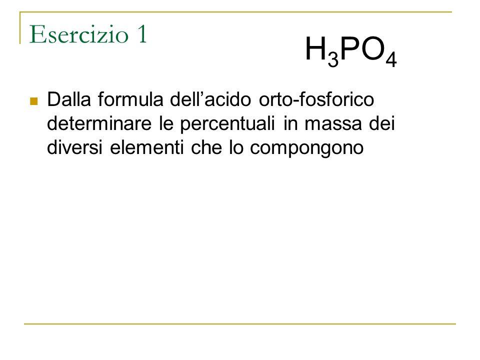 Esercizio 1 Dalla formula dellacido orto-fosforico determinare le percentuali in massa dei diversi elementi che lo compongono H 3 PO 4
