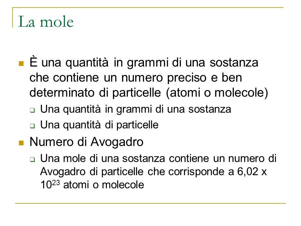 La mole È una quantità in grammi di una sostanza che contiene un numero preciso e ben determinato di particelle (atomi o molecole) Una quantità in gra