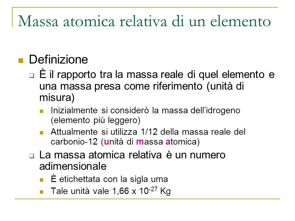 Massa molecolare Nel caso dei composti o delle sostanze elementari la massa molecolare relativa si calcola Sommando le masse degli elementi che costituiscono la molecola Ciascuna moltiplicata per lindice con cui compare nella formula chimica MMH 2 = 2 x 1,0 = 2,0 uma MMAlCl 3 = 27 + (3 x 35,5) = 133,5 uma MMH 3 PO 4 = (3 x 1,0) + 31 + (4 x 16) = 98 uma