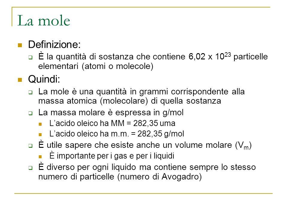 Esercizio Determina il volume molare dellacqua La massa molecolare dellacqua è 18 uma La massa molare dellacqua è 18 g/mol Quindi una mole dacqua ha massa 18 g Poiché la densità dellacqua è 1 g/mL, 18 g dacqua occupano un volume… …di 18 mL …o 0,018 L