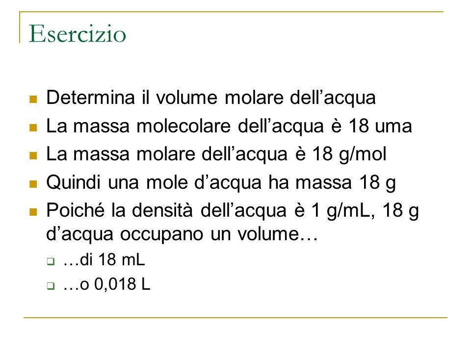 Esercizio 2 Determina quante moli dacqua sono contenute in 1 L 1 L dacqua ha massa 1000 g (si ricava dalla densità) Se una mole ha massa 18 grammi si può trovare con una proporzione quante moli sono contenute in 1000 grammi Moli = 1000 g/ 18 g = 55,5 mol