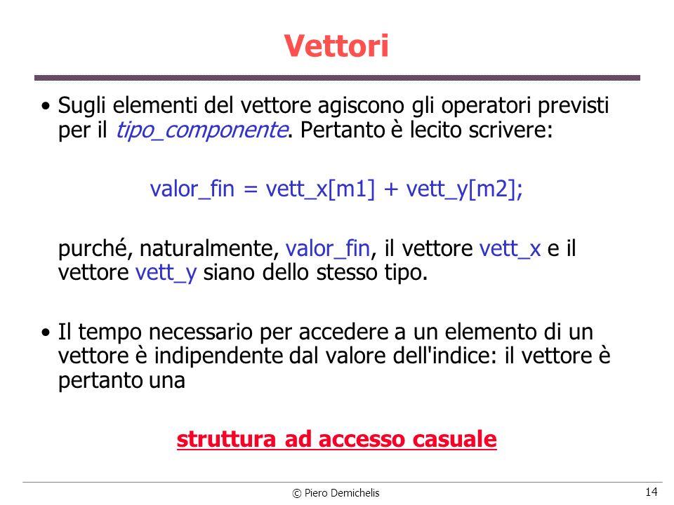 © Piero Demichelis 14 Vettori Sugli elementi del vettore agiscono gli operatori previsti per il tipo_componente. Pertanto è lecito scrivere: valor_fin