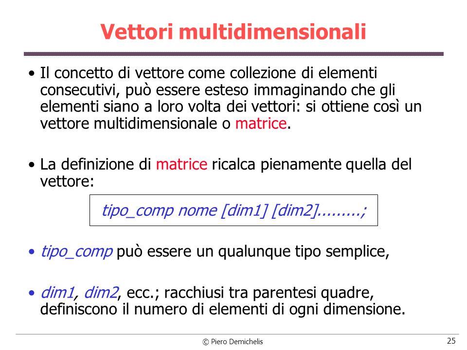 © Piero Demichelis 25 Vettori multidimensionali Il concetto di vettore come collezione di elementi consecutivi, può essere esteso immaginando che gli