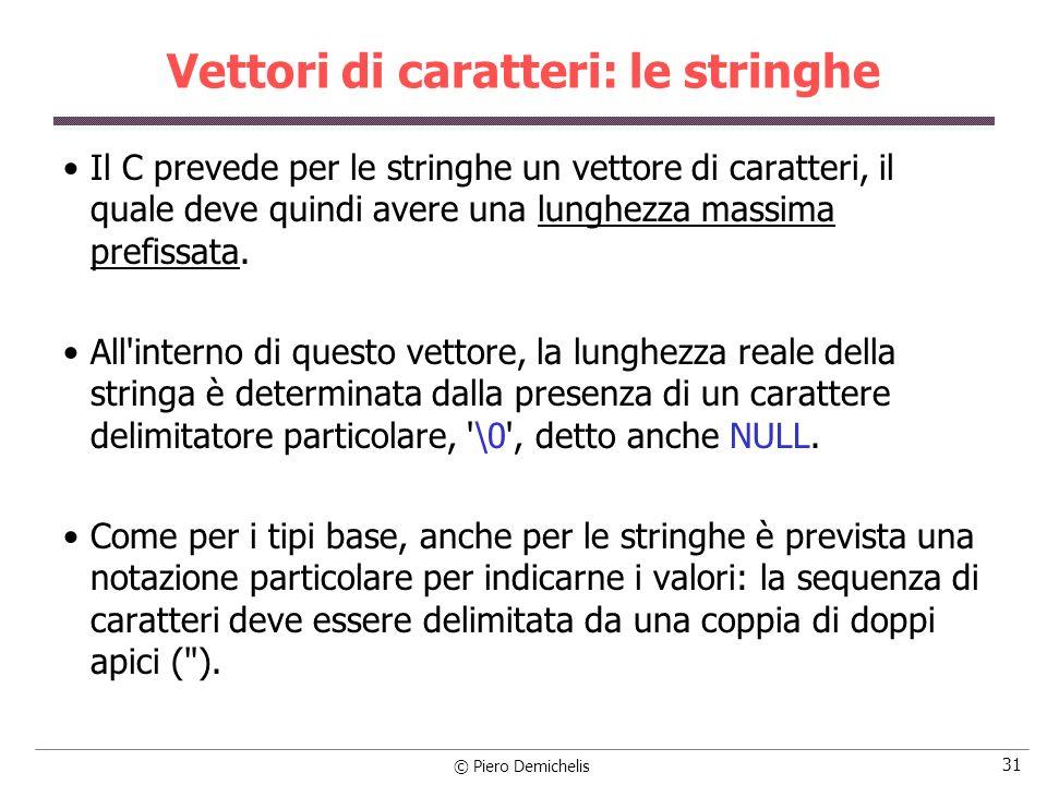 © Piero Demichelis 31 Vettori di caratteri: le stringhe Il C prevede per le stringhe un vettore di caratteri, il quale deve quindi avere una lunghezza