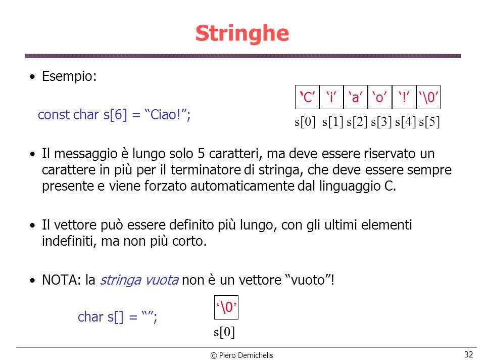 © Piero Demichelis 32 Stringhe Esempio: const char s[6] = Ciao!; Il messaggio è lungo solo 5 caratteri, ma deve essere riservato un carattere in più p