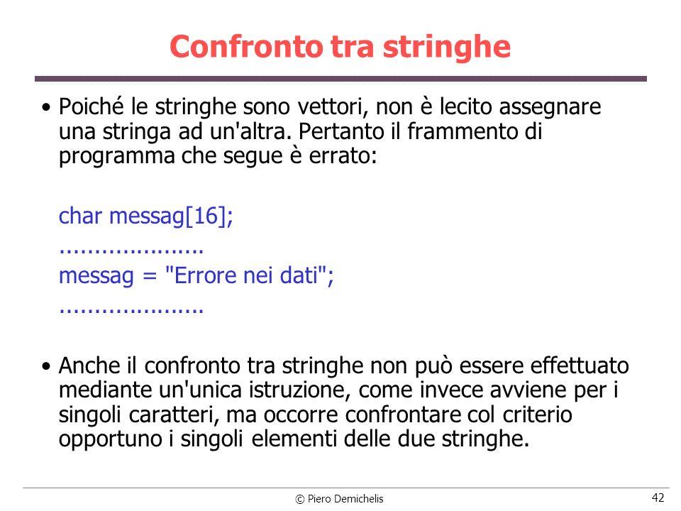 © Piero Demichelis 42 Confronto tra stringhe Poiché le stringhe sono vettori, non è lecito assegnare una stringa ad un'altra. Pertanto il frammento di