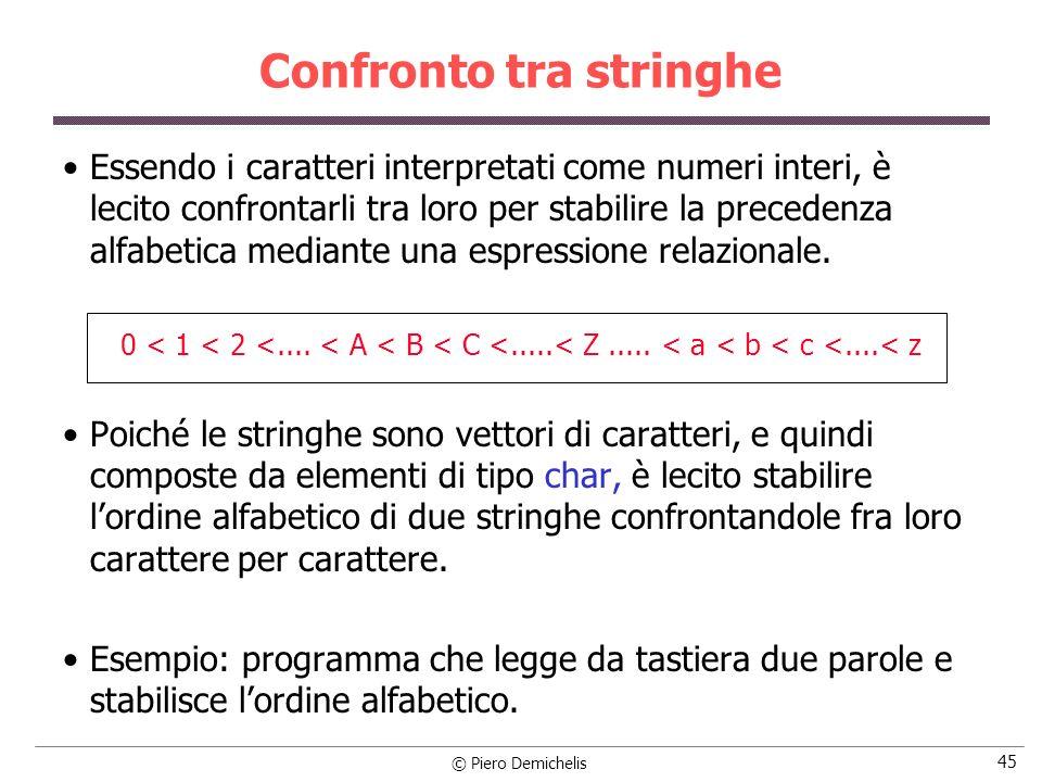 © Piero Demichelis 45 Confronto tra stringhe Essendo i caratteri interpretati come numeri interi, è lecito confrontarli tra loro per stabilire la prec