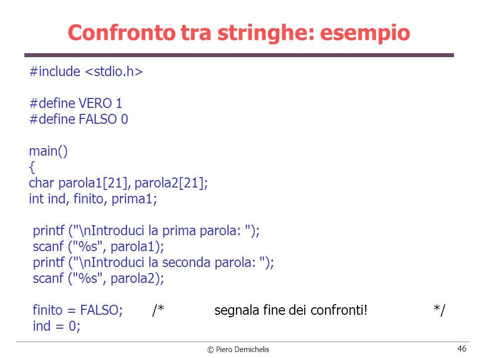 © Piero Demichelis 46 Confronto tra stringhe: esempio #include #define VERO 1 #define FALSO 0 main() { char parola1[21], parola2[21]; int ind, finito,