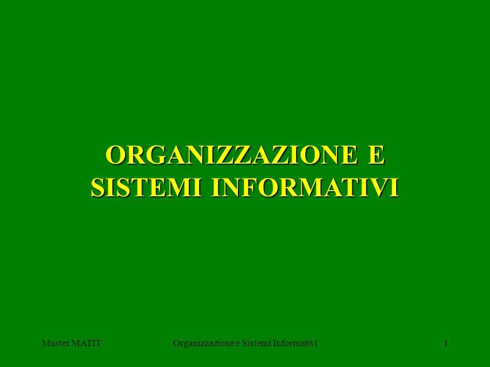 Master MATITOrganizzazione e Sistemi Informativi42 Sistemi di elaborazione delle transazioni (OLTP) Base di dati: memorizza informazioni persistenti N processi di elaborazione: leggono e/o scrivono sulla base dei dati (transazioni) BASE DI DATI Processo 1 Processo 2 Processo N