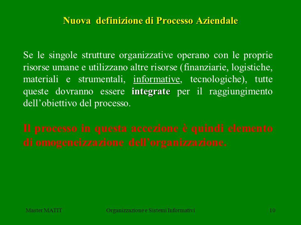 Master MATITOrganizzazione e Sistemi Informativi10 Nuova definizione di Processo Aziendale integrate Se le singole strutture organizzative operano con
