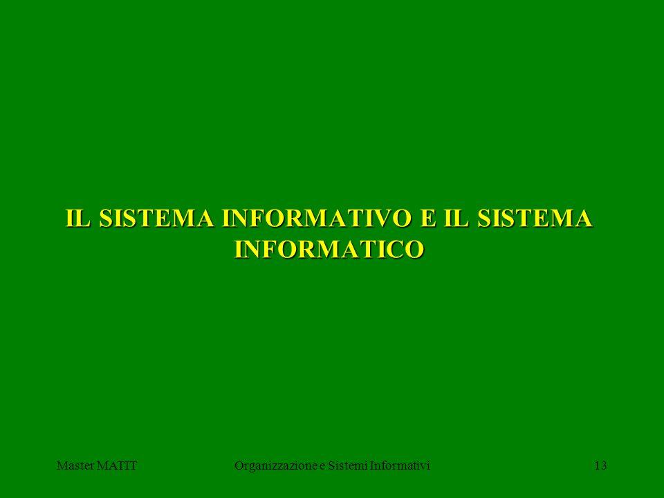Master MATITOrganizzazione e Sistemi Informativi13 IL SISTEMA INFORMATIVO E IL SISTEMA INFORMATICO