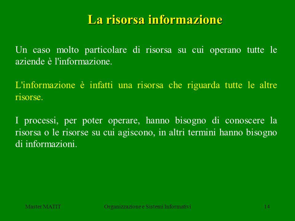 Master MATITOrganizzazione e Sistemi Informativi14 La risorsa informazione Un caso molto particolare di risorsa su cui operano tutte le aziende è l'in
