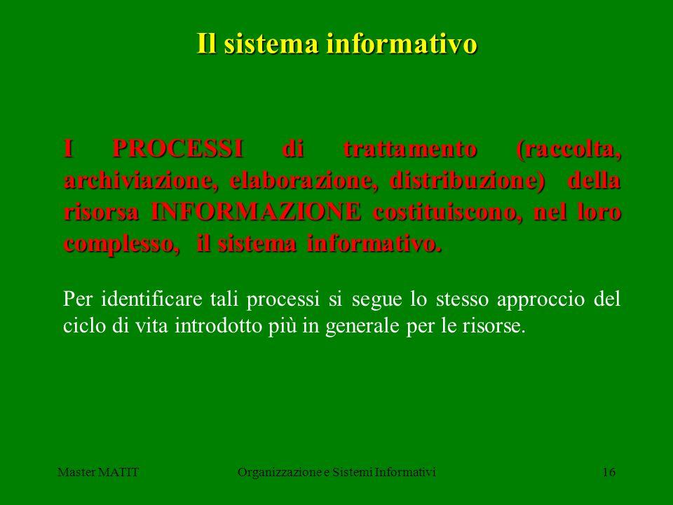 Master MATITOrganizzazione e Sistemi Informativi16 Il sistema informativo I PROCESSI di trattamento (raccolta, archiviazione, elaborazione, distribuzi