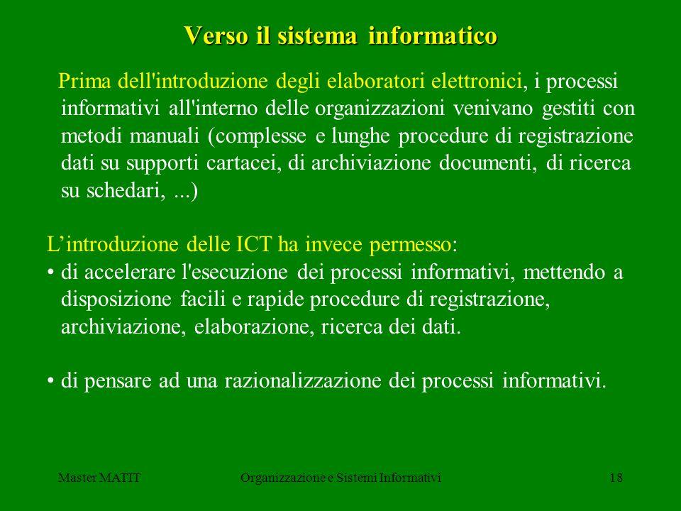 Master MATITOrganizzazione e Sistemi Informativi18 Verso il sistema informatico Prima dell'introduzione degli elaboratori elettronici, i processi info