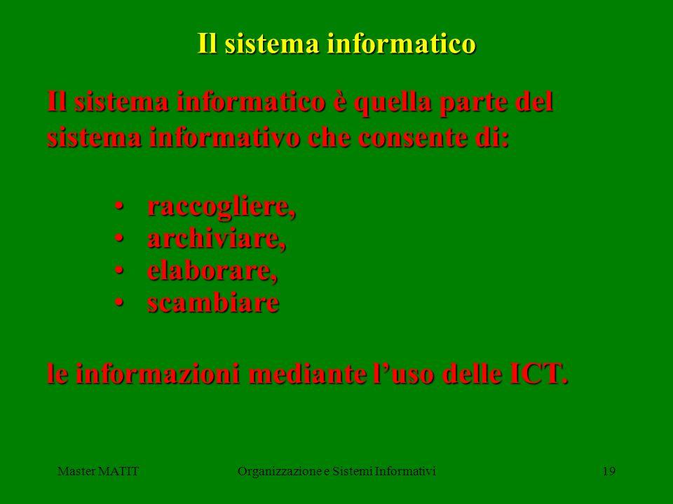 Master MATITOrganizzazione e Sistemi Informativi19 Il sistema informatico Il sistema informatico è quella parte del sistema informativo che consente d