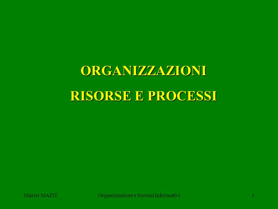 Master MATITOrganizzazione e Sistemi Informativi3 ORGANIZZAZIONI RISORSE E PROCESSI