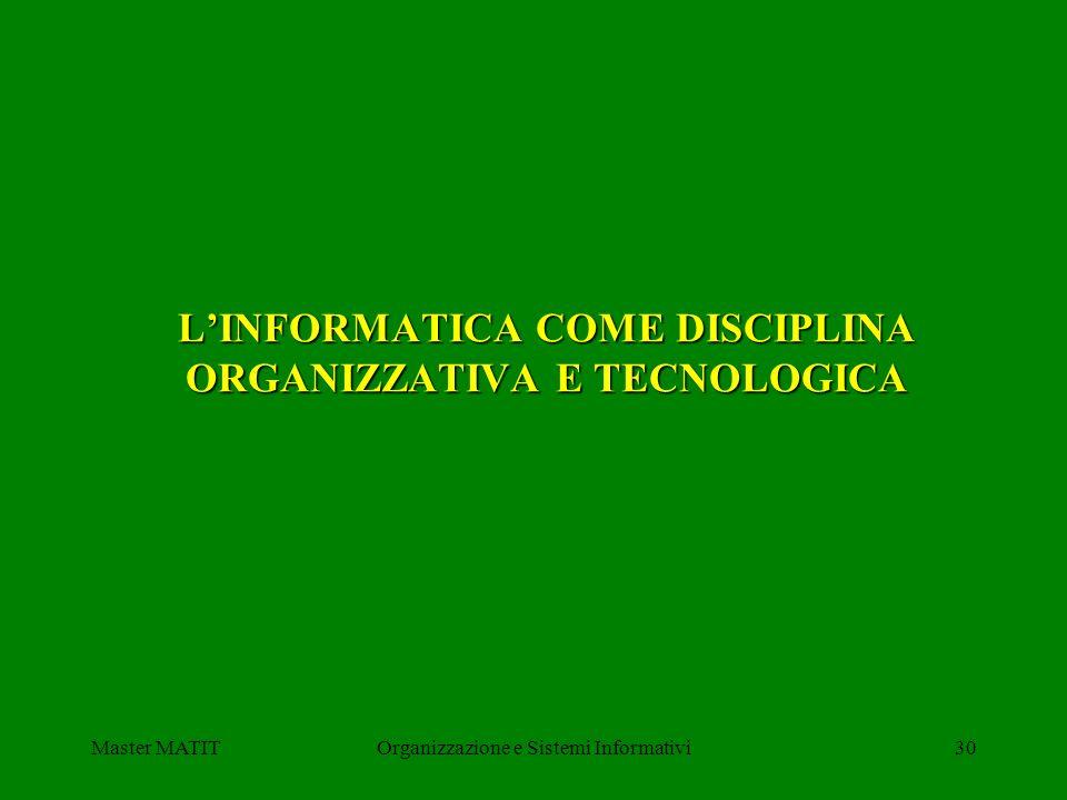 Master MATITOrganizzazione e Sistemi Informativi30 LINFORMATICA COME DISCIPLINA ORGANIZZATIVA E TECNOLOGICA