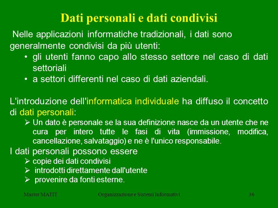 Master MATITOrganizzazione e Sistemi Informativi36 Nelle applicazioni informatiche tradizionali, i dati sono generalmente condivisi da più utenti: gli