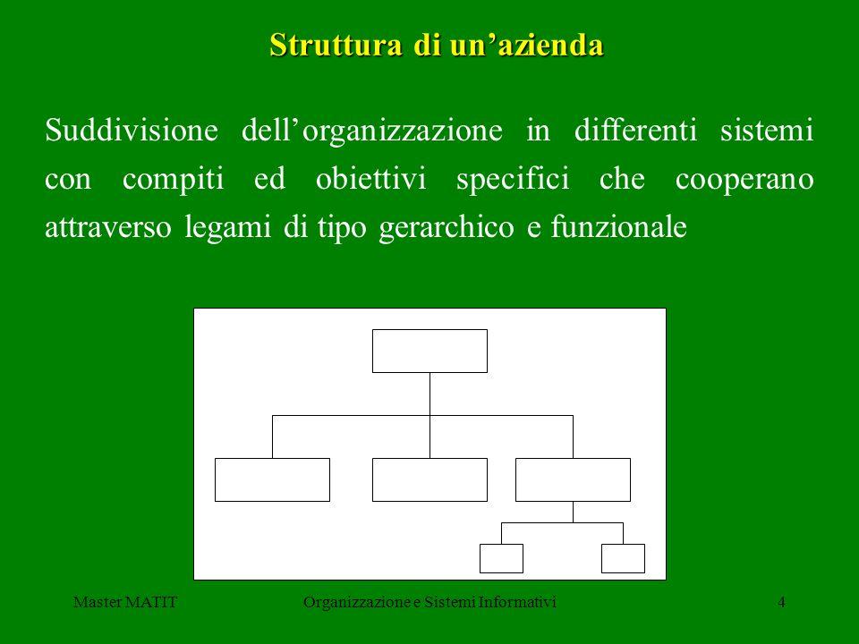Master MATITOrganizzazione e Sistemi Informativi4 Struttura di unazienda Suddivisione dellorganizzazione in differenti sistemi con compiti ed obiettiv