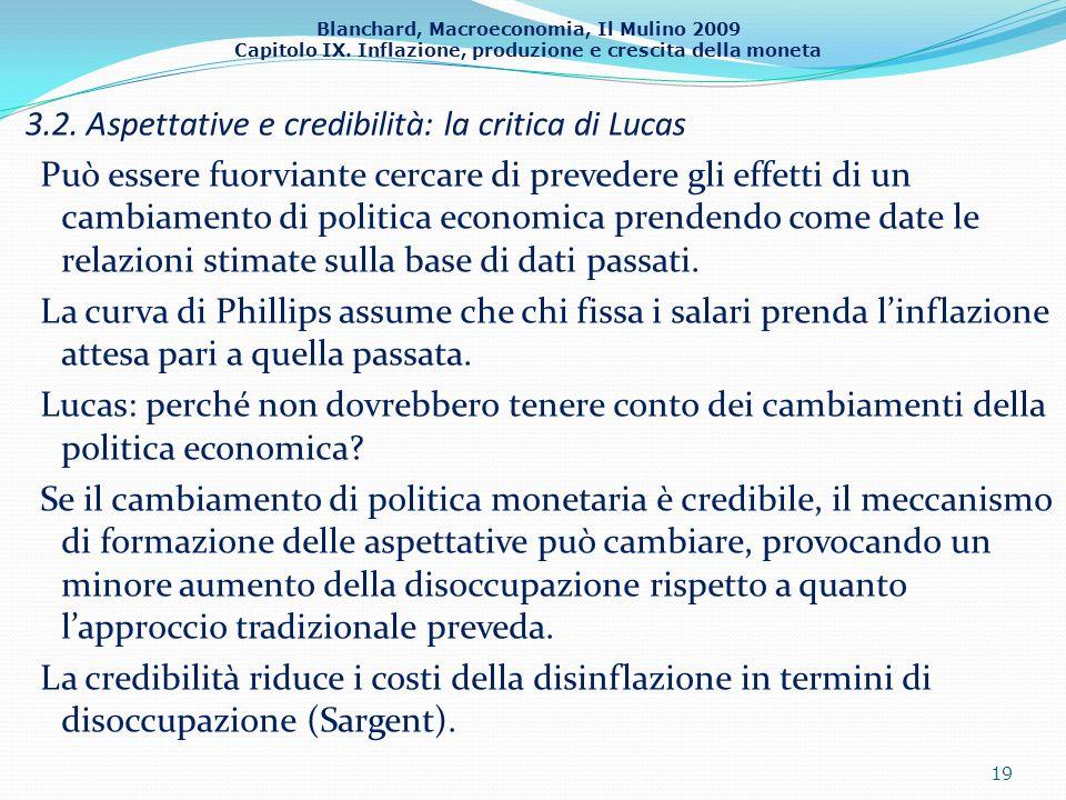 Blanchard, Macroeconomia, Il Mulino 2009 Capitolo IX. Inflazione, produzione e crescita della moneta 3.2. Aspettative e credibilità: la critica di Luc