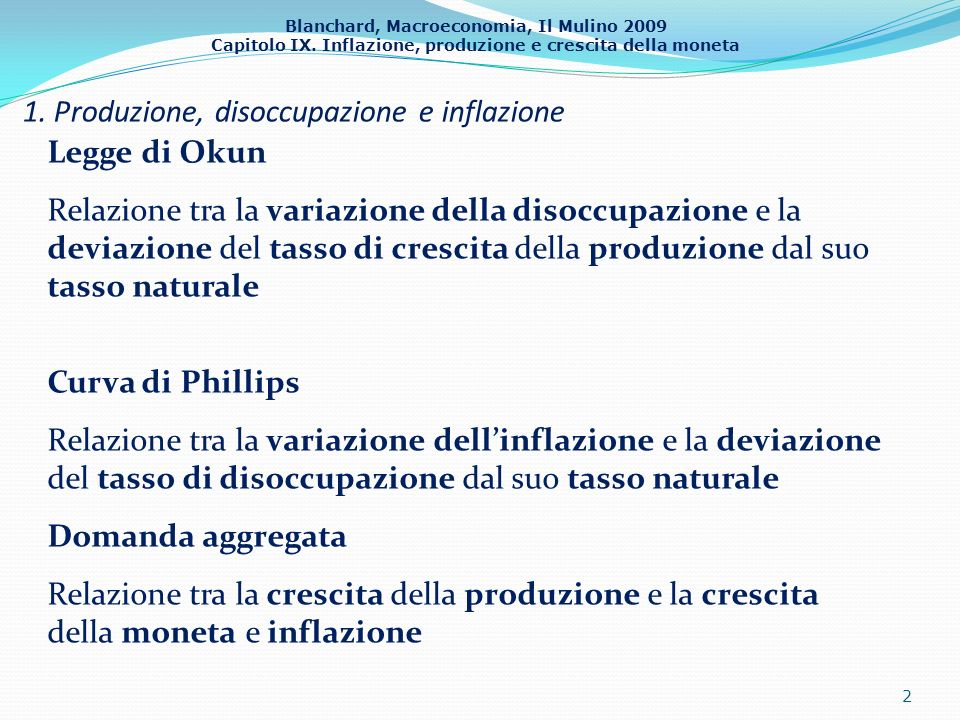 Blanchard, Macroeconomia, Il Mulino 2009 Capitolo IX. Inflazione, produzione e crescita della moneta 1. Produzione, disoccupazione e inflazione 2 Legg