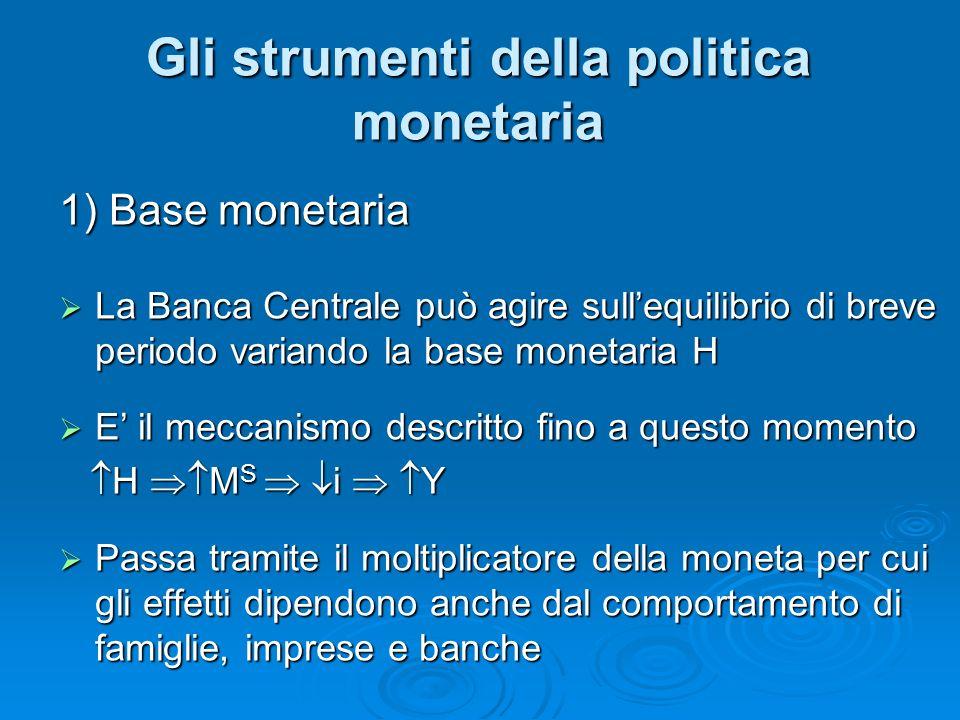 1) Base monetaria La Banca Centrale può agire sullequilibrio di breve periodo variando la base monetaria H La Banca Centrale può agire sullequilibrio